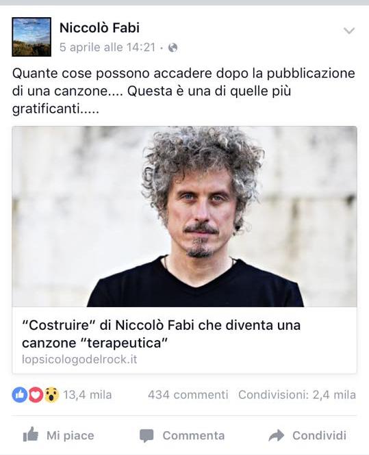 Fabi ha condiviso sul suo Facebook un mio articolo sull'uso terapeutico di una sua traccia